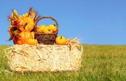 Décoration d'automne Potirons avec le panier sur Straw Bale Images libres de droits