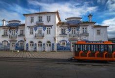 Décoration d'Azulejo de vieille station de train d'Aveiro Image stock