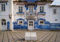 Décoration d'Azulejo de vieille station de train d'Aveiro Images libres de droits