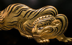 Décoration d'or d'illustration de tigre en Osaka Castle Images stock