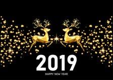 Décoration d'or de 2019 bonnes années avec le renne sautant illustration stock