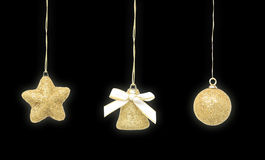 Décoration d'or de Noël Photographie stock libre de droits