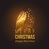 Décoration d'or de Noël avec l'éclaboussure de champagne Images stock