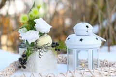 Décoration d'hiver dans le blanc Photo stock
