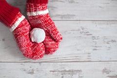 Décoration d'hiver Mitaines avec la boule de neige sur le plancher en bois Images libres de droits