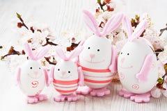 Décoration d'oeufs de lapin de Pâques Image libre de droits
