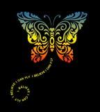 Décoration d'ornement floral de papillon de vol Photographie stock libre de droits