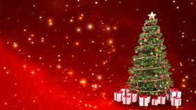 Décoration d'un arbre de Noël par les particules brillantes de scintillement thème de rachat de cadeau - 3D rendent banque de vidéos
