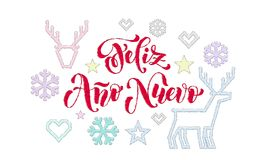 Décoration de broderie de police de calligraphie de Feliz Ano Nuevo Spanish Happy New Year pour le design de carte de salutation  illustration libre de droits