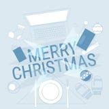 Décoration de cadeau de Noël de Tablette de téléphone d'ordinateur portable de concept de nouvelle année d'instrument de l'électr Image libre de droits