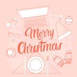 Décoration de cadeau de Noël de Tablette de téléphone d'ordinateur portable de concept de nouvelle année d'instrument de l'électr Image stock