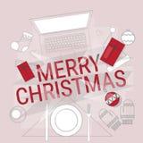 Décoration de cadeau de Noël de Tablette de téléphone d'ordinateur portable de concept de nouvelle année d'instrument de l'électr Photo libre de droits
