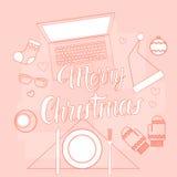 Décoration de cadeau de Noël de Tablette de téléphone d'ordinateur portable de concept de nouvelle année d'instrument de l'électr Images libres de droits