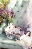 Décoration de chaise dans le domaine de lavande de purpur sur le coucher du soleil d'or photo stock