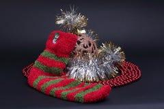 Décoration de Cristmas avec la chaussette Photos stock