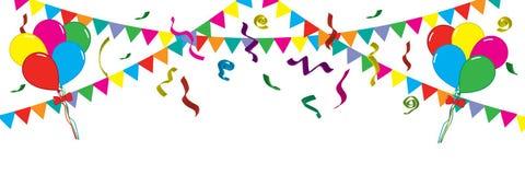 Décoration de fête de fond Ballons, rubans, tresse, guirlandes Illustration de vecteur de vacances illustration de vecteur