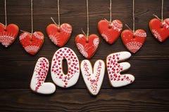 Décoration de fête pour le jour de valentines des pains d'épice Images libres de droits