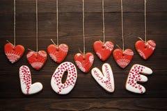 Décoration de fête pour le jour de valentines des pains d'épice Image libre de droits
