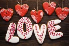 Décoration de fête pour le jour de valentines des pains d'épice Photographie stock