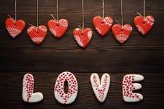 Décoration de fête pour le jour de valentines des pains d'épice Photos libres de droits