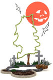 décoration de fond de 3D Halloween dans le cimetière de hantise avec Ja illustration de vecteur