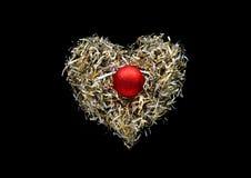 Décoration de forme de coeur de l'art de papier sur le fond noir de couleur Photo libre de droits
