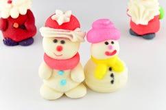 Décoration de glaçage de Santa et de bonhomme de neige Photo stock