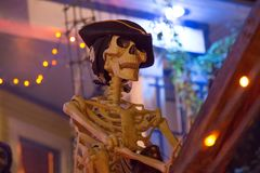 Décoration de Halloween de bateau de pirate de lanterne de Jack O Photos libres de droits