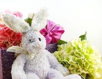 Décoration de jour de Pâques de poupée et de boîte-cadeau de lapin Photos libres de droits