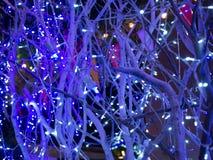 Décoration de lumière de Noël sur l'arbre Image libre de droits