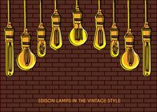 Décoration de luxe d'éclairage au-dessus du fond de mur de briques Photographie stock