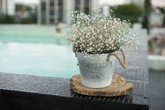 Décoration de mariage avec la pièce maîtresse naturelle de fleurs Images stock