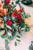 Décoration de mariage d'automne et bouquet de épouser photo stock