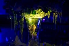 Décoration de mariage de nuit avec la pièce maîtresse naturelle de fleurs photographie stock