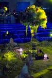 Décoration de mariage de nuit avec la pièce maîtresse naturelle de fleurs Photo libre de droits