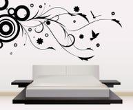 Décoration de mur avec la conception florale Images libres de droits
