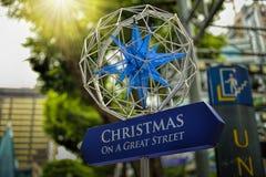 Décoration de Noël à la route de verger de Singapour Photographie stock libre de droits