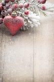 Décoration de Noël au-dessus de fond en bois Photos libres de droits