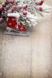 Décoration de Noël au-dessus de fond en bois Photographie stock