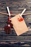 Décoration de Noël au-dessus du fond en bois Images stock