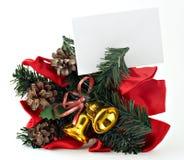Décoration de Noël avec l'étiquette blanc 1 de cadeau Images libres de droits