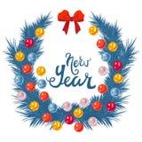 Décoration de Noël avec la bougie et les feuilles Illustration Libre de Droits