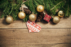 Décoration de Noël avec le fond en bois Photos stock