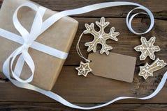 Décoration de Noël avec le label vide Photographie stock