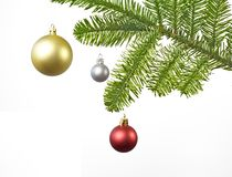 Décoration de Noël avec le rouge, argent, bille d'or Photo libre de droits