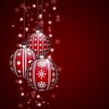 Décoration de Noël avec les babioles rouges Image libre de droits