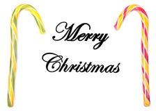 Décoration de Noël avec les boules, les bonbons et la lettre colorés sur un bureau en bois Images stock