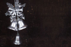 Décoration de Noël avec les cloches argentées Photo stock