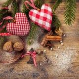 Décoration de Noël, compilation idyllique, le fond en bois Photo stock