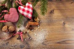 Décoration de Noël, compilation idyllique, le fond en bois Photographie stock